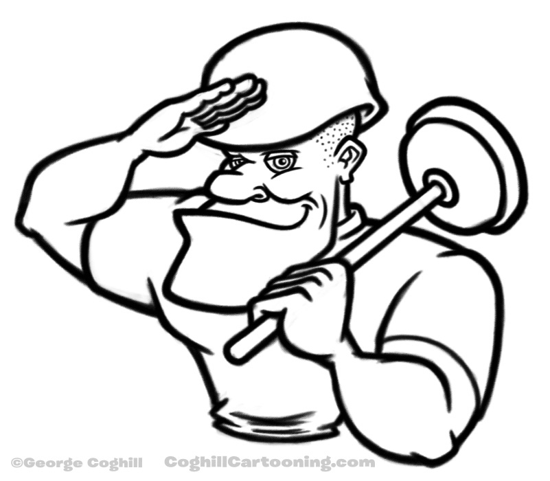 801x700 Saluting Cartoon Soldier With Plunger Sketch Working