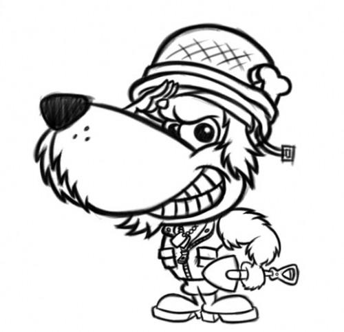 500x483 Soldier Dog Cartoon Character Design
