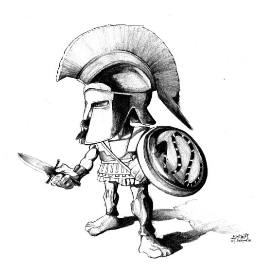 539x550 Cartoon Greek Soldier Ancient Greek Warrior By Efdemon Morgan