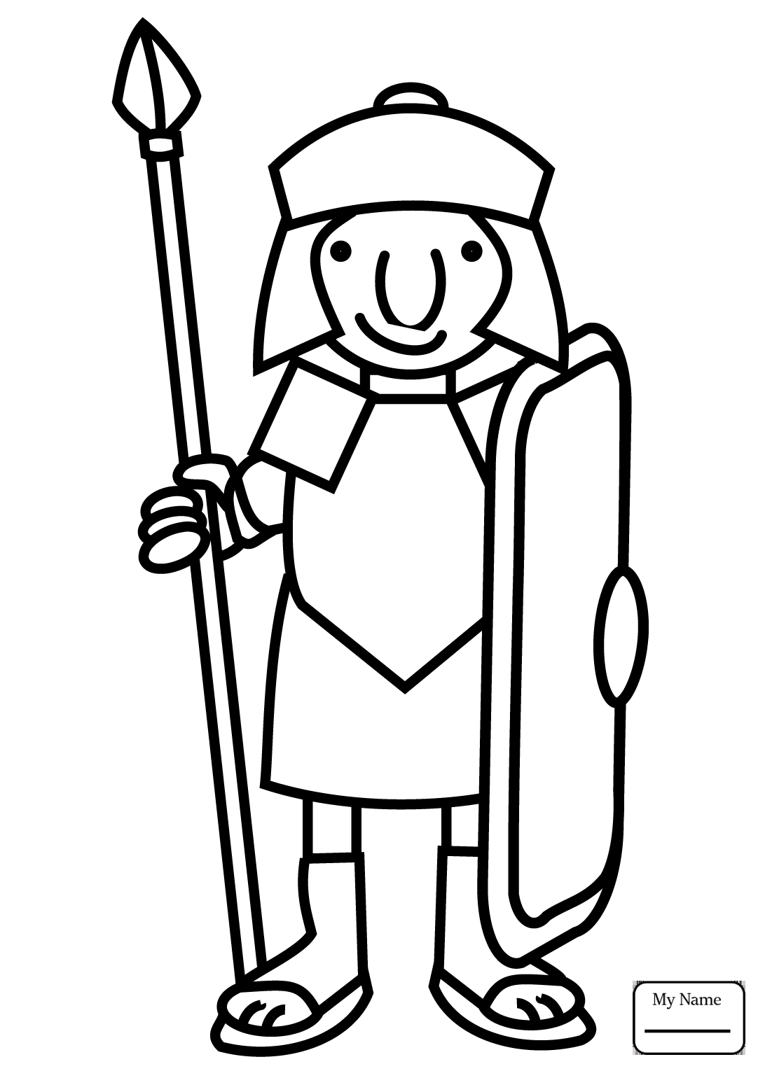 1082x1530 Coloring Pages For Kids History Cartoon Roman Soldier With Spear