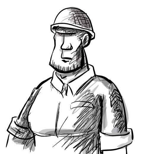 500x522 American Soldier Cartoon Sketch Illustrations