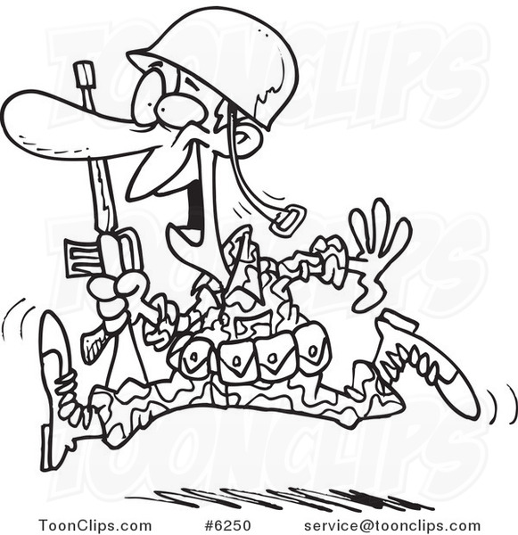 581x600 Cartoon Black And White Line Drawing Of A Running Marine Soldier