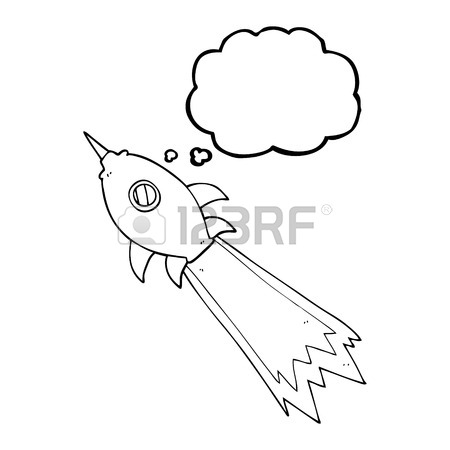 450x450 Freehand Drawn Thought Bubble Cartoon Spaceship Royalty Free