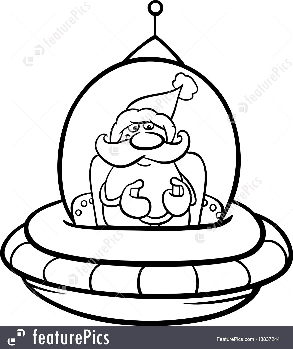 1170x1392 Holidays Santa In Spaceship Coloring Page