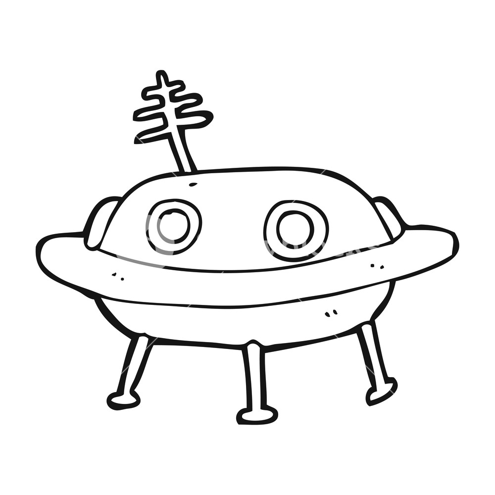 1000x1000 Freehand Drawn Black And White Cartoon Alien Spaceship Royalty