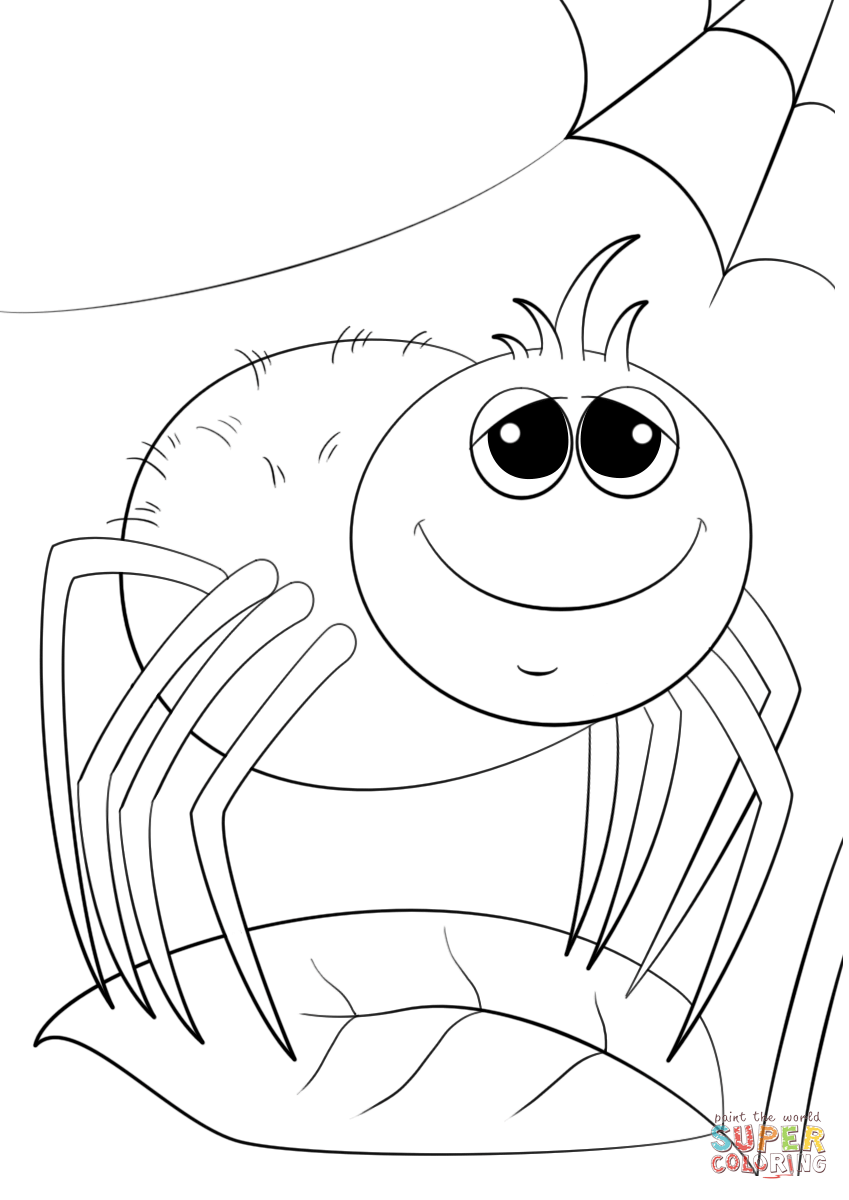 849x1200 Cute Cartoon Spider Coloring Page Free Printable Coloring Pages