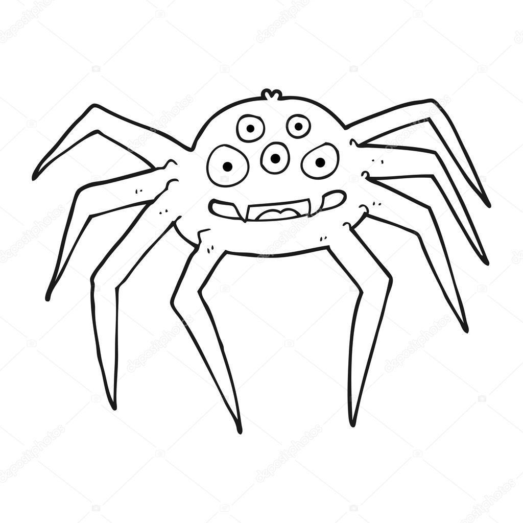 1024x1024 Black And White Cartoon Spider Stock Vector Lineartestpilot