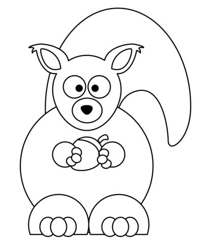408x480 Cartoon Squirrel With Acorn Coloring Page Free Printable