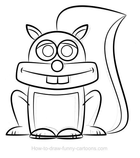 450x508 Squirrel Drawing (Sketching + Vector)