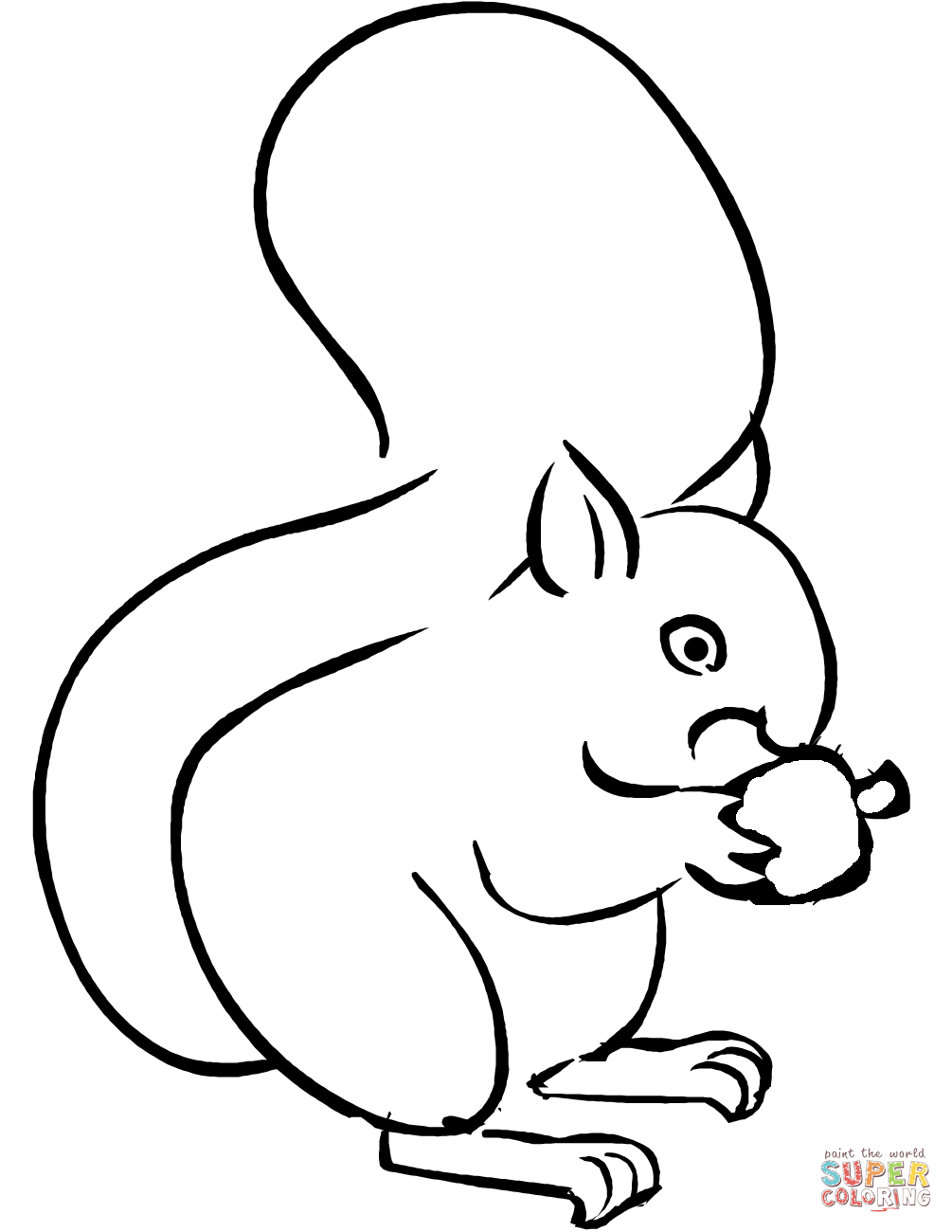 1005x1300 Cartoon Squirrel Holding An Acorn Coloring Page Free Printable
