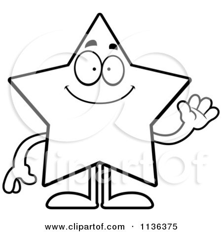 450x470 Clipart Of A Cartoon Black And White Doodled Crying Star Character
