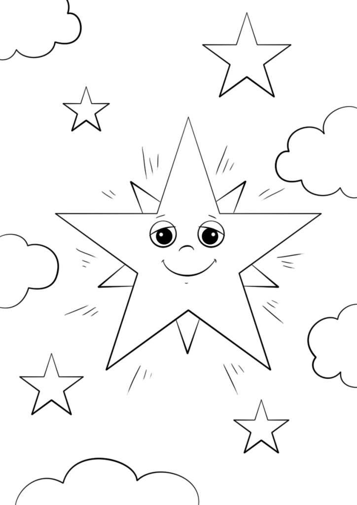 724x1024 Cartoon Star Character Nature Coloring Page