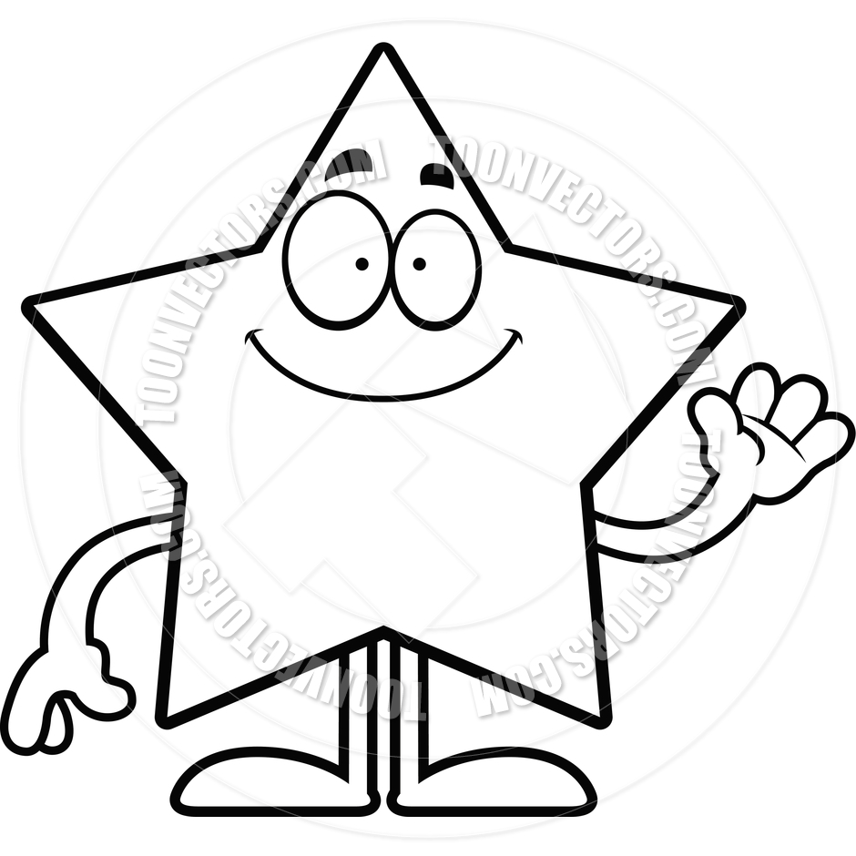 940x940 Cartoon Star Waving (Black And White Line Art) By Cory Thoman