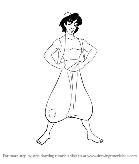 556x658 Learn How To Draw Aladdin From Aladdin Cartoon (Aladdin) Step By