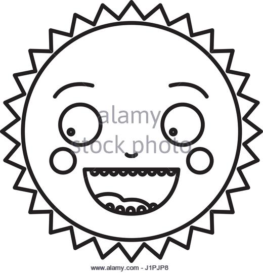 520x540 Drawing Cute Smiling Cartoon Sun Black And White Stock Photos