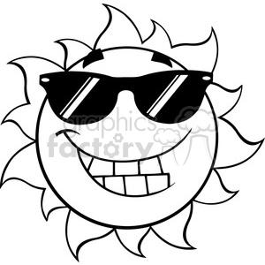 300x300 Royalty Free Black And White Smiling Summer Sun Cartoon Mascot