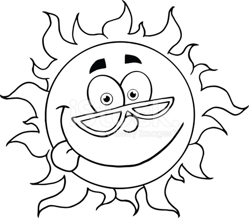 501x439 Black And White Cartoon Sun With Sunglasses Stock Vector