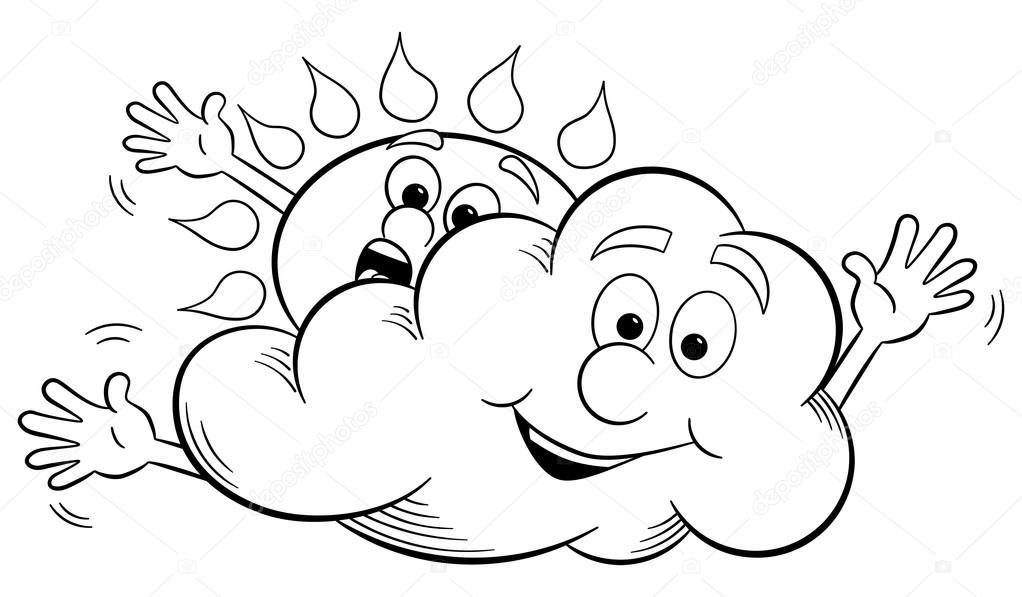 1022x597 Cartoon Sun And Cloud Make Overcast Sky Stock Vector