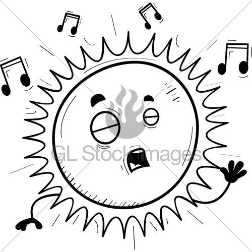 500x500 Cartoon Sun Singing Gl Stock Images