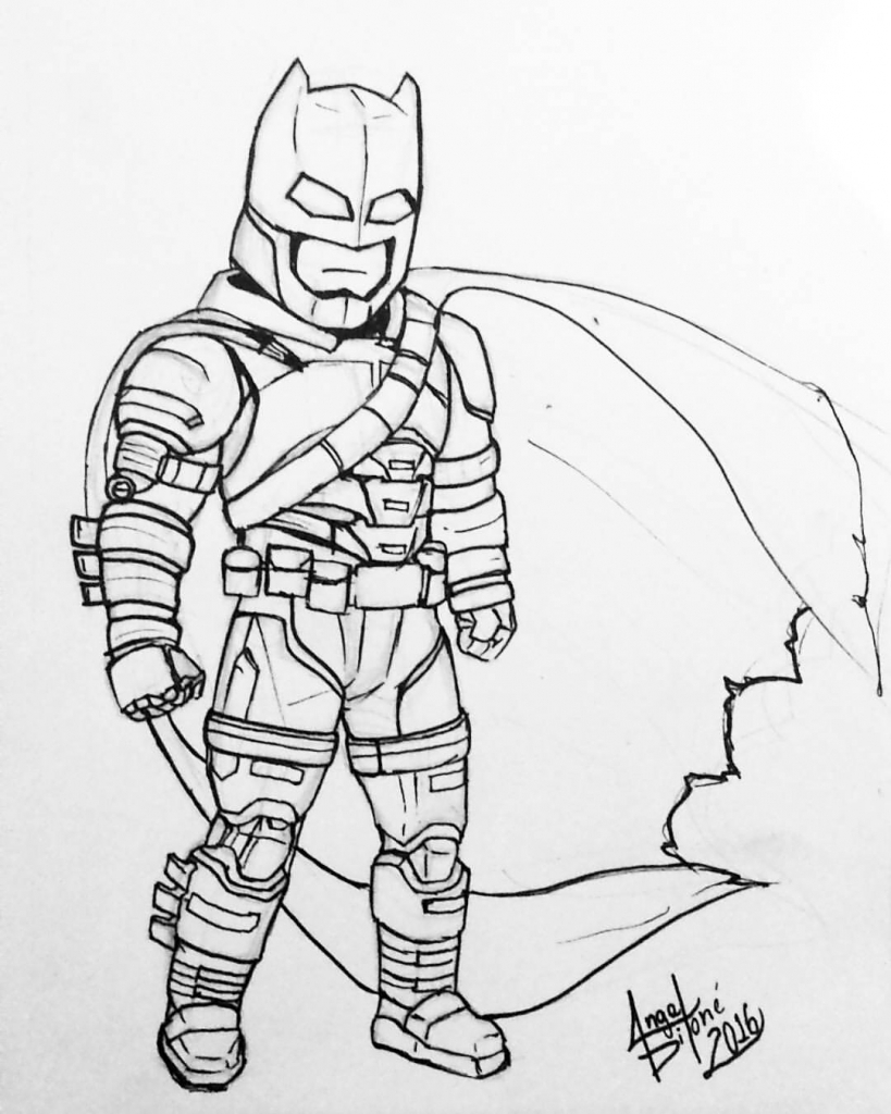 819x1024 Cartoon Batman Drawings Angel Dilone Art Armored Batman