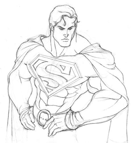 460x504 Cartoon Superman Pencil Draw
