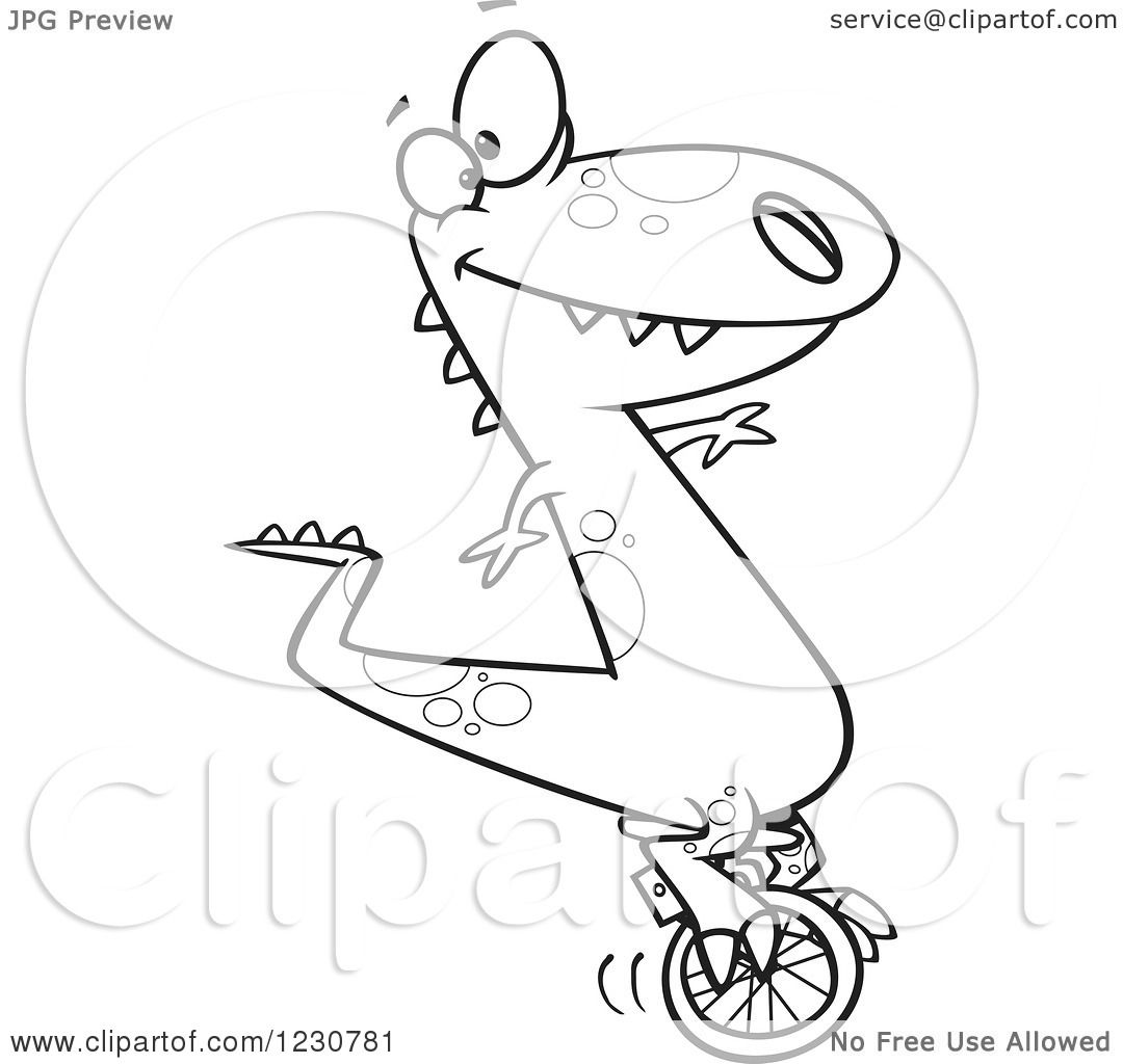 1080x1024 Clipart Of A Line Art Cartoon T Rex Dinosaur On A Unicycle