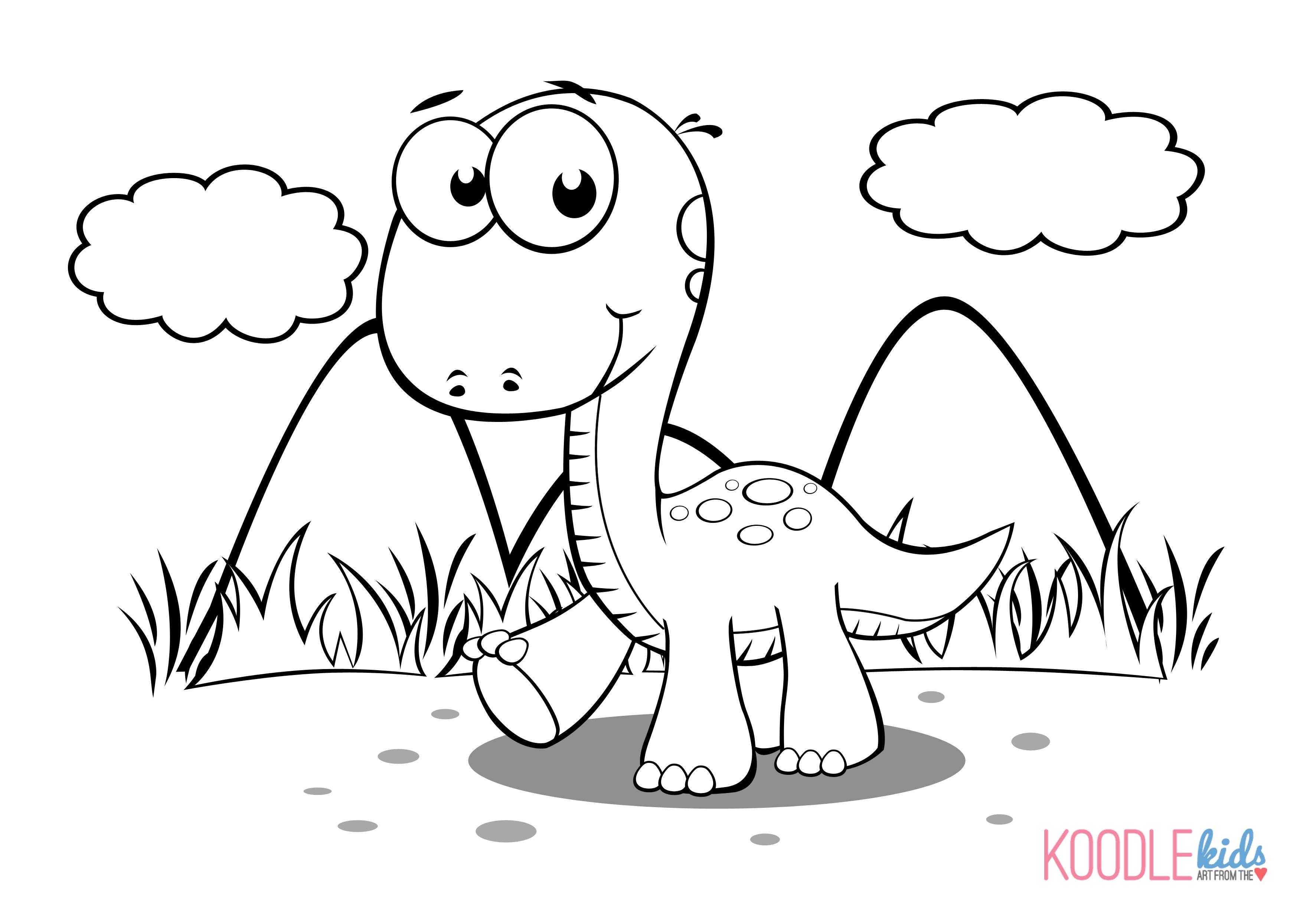 3510x2490 Cute Dinosaur Drawings To Color Cartoon
