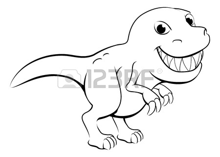 450x322 Black And White Illustration Of A Happy Cartoon T Rex Dinosaur