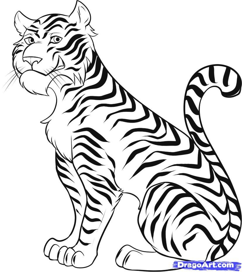 827x929 How To Draw A Cartoon Tiger, Step By Step, Rainforest Animals