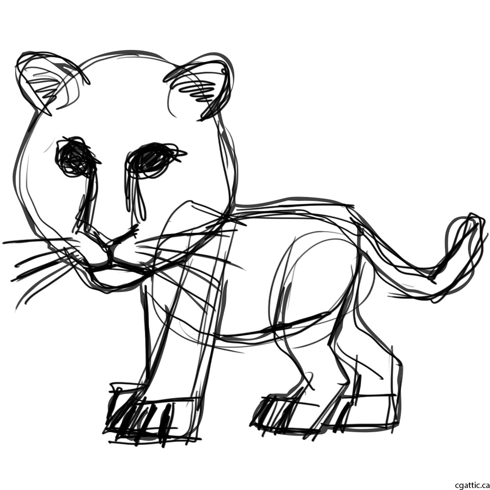 1000x1000 Tiger Cartoon Drawing In 4 Steps With Photoshop