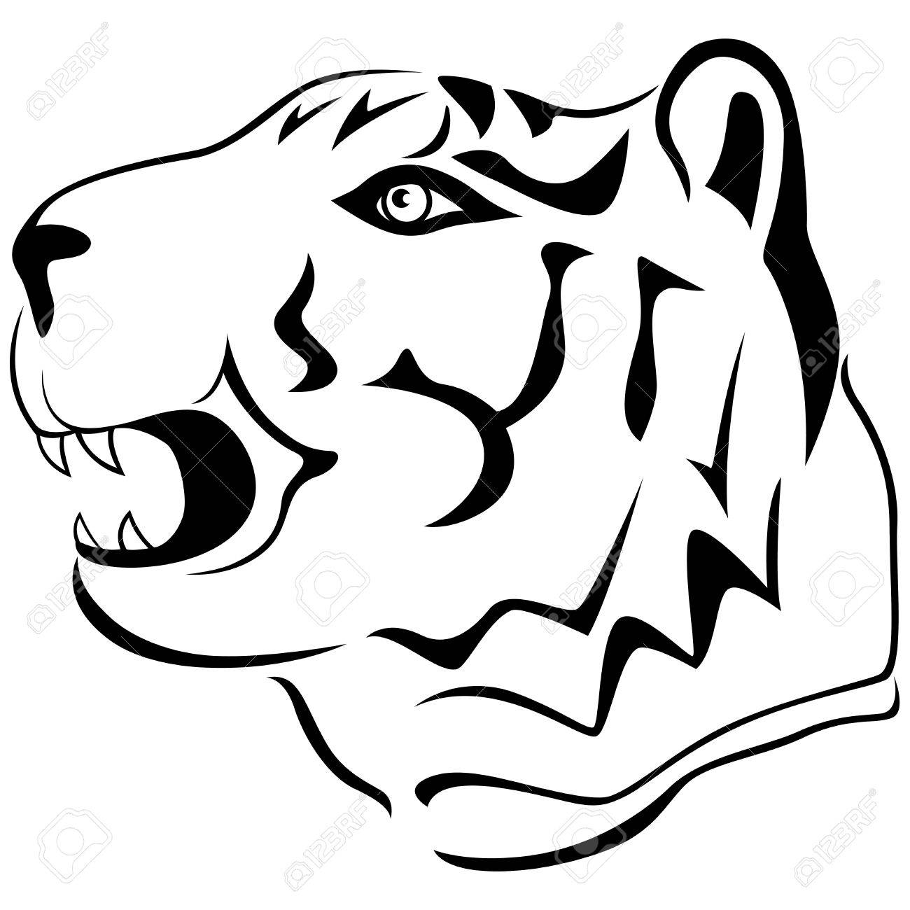 1300x1300 Adult Tiger Head Profile, Hand Drawing Cartoon Vector Outline