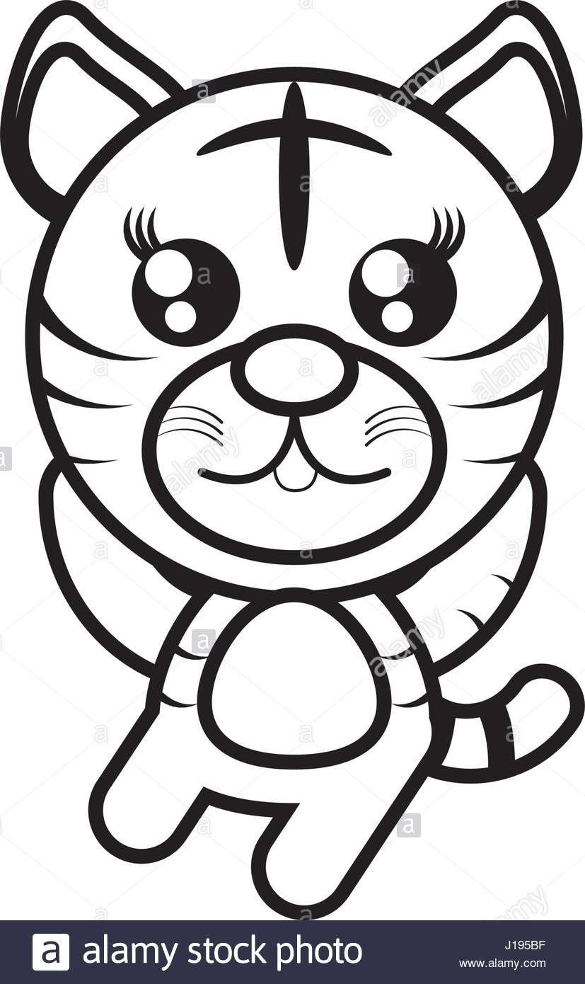 827x1390 Cartoon Tiger Animal Outline Stock Vector Art Amp Illustration