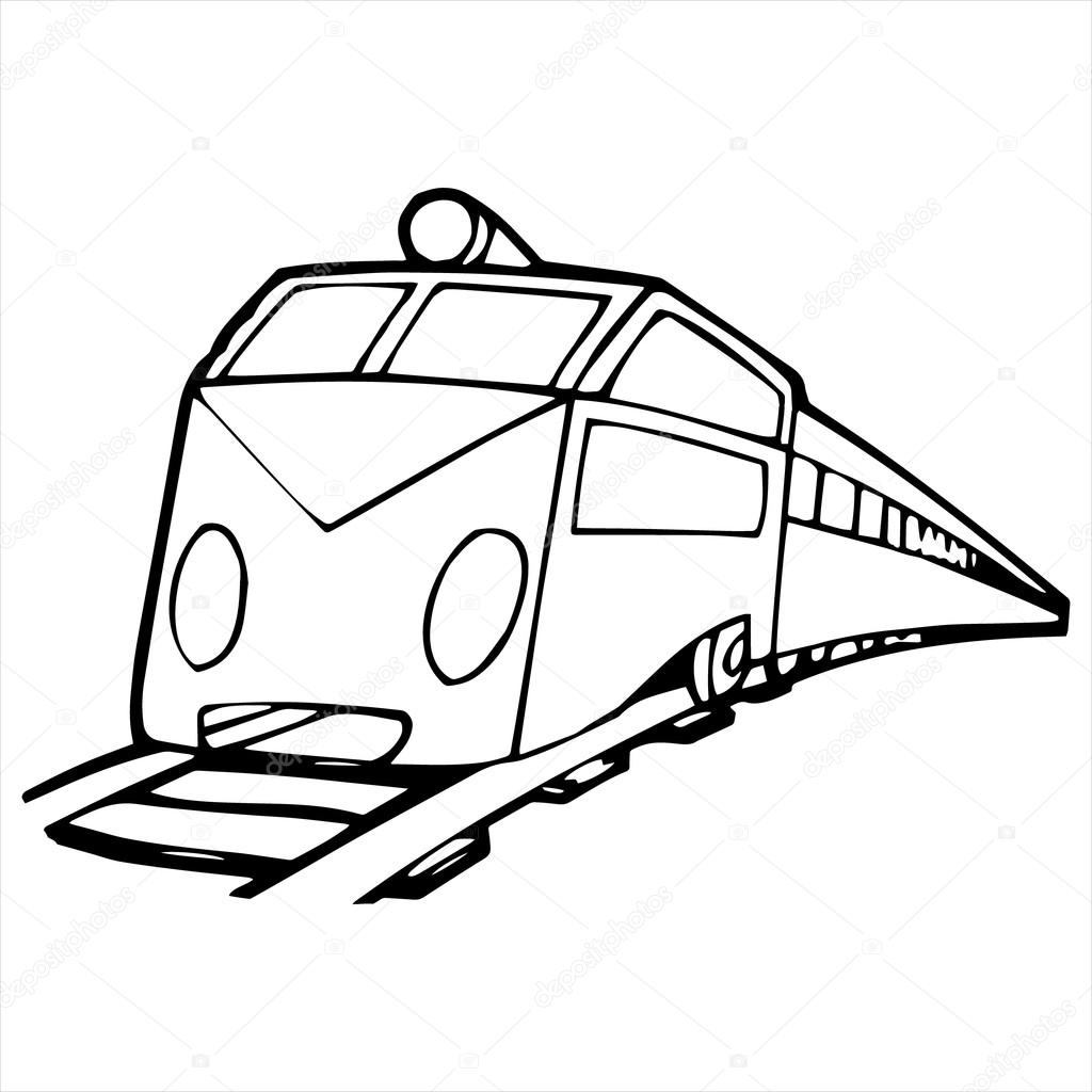 1024x1024 Modern Train Cartoon Illustration Isolated On White Stock Vector