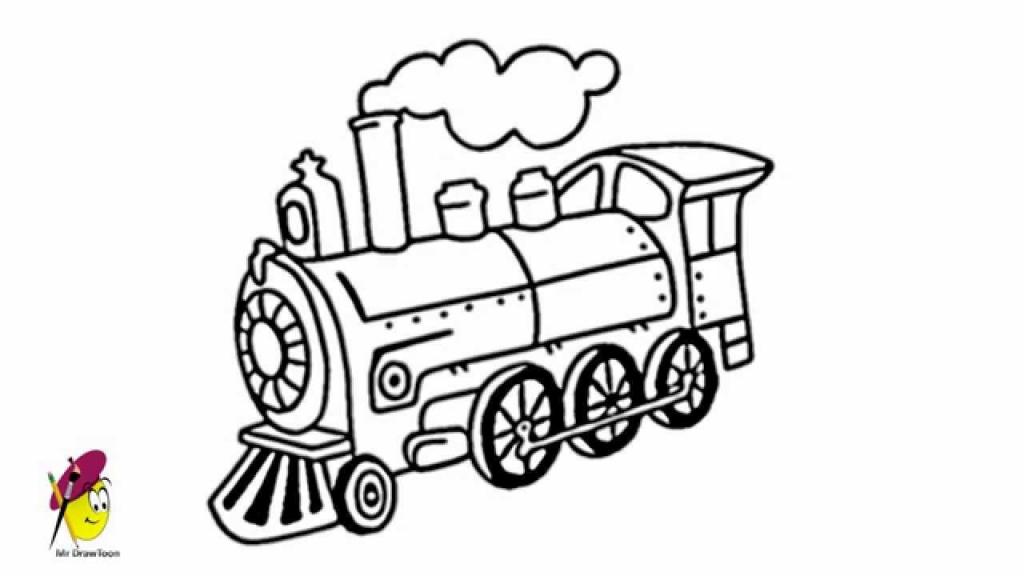 1024x576 Cartoon Train Drawing Locomotive How Draw A Locomotive How