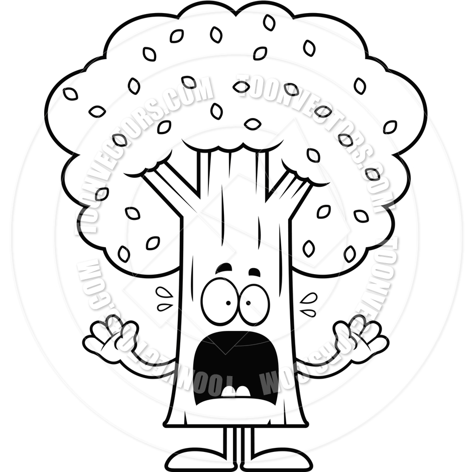 940x940 Cartoon Tree Scared (Black And White Line Art) By Cory Thoman