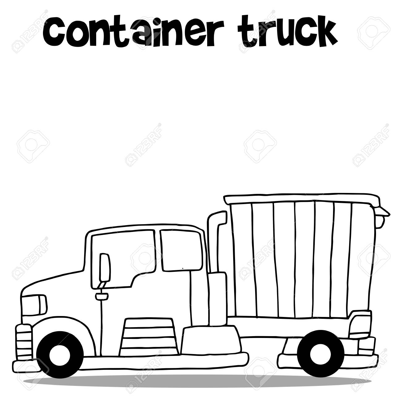1300x1300 Transportation Of Container Truck Cartoon Royalty Free Cliparts