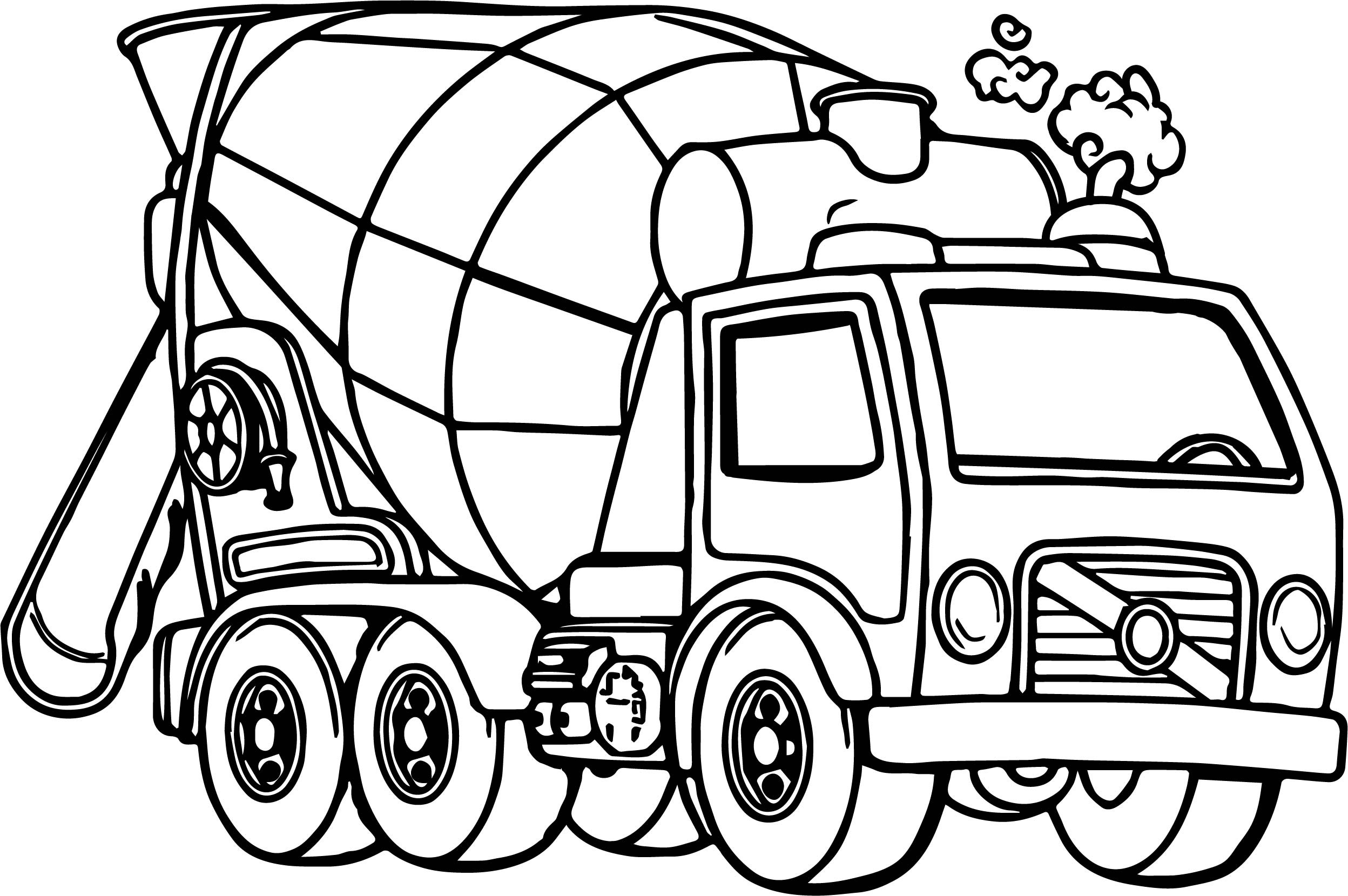 2496x1659 Cartoon Truck Coloring Pages Free Draw To Color