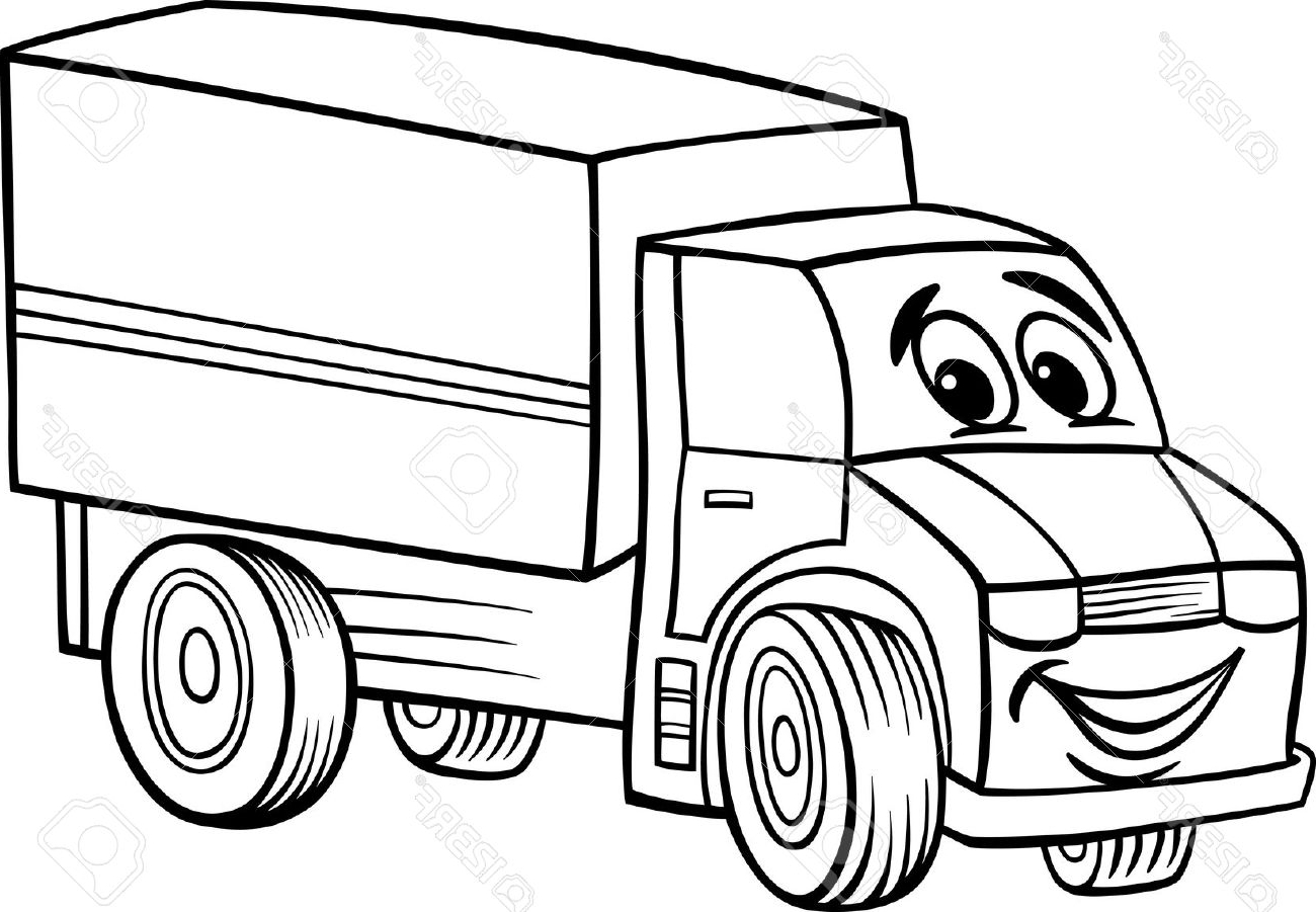 1300x901 Black And White Cartoon Illustration Of Funny Truck Or Lorry