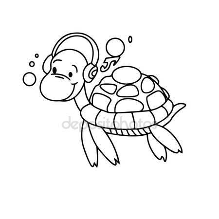 450x450 Cute Cartoon Turtle White Background Childrens Prints Shirt Color