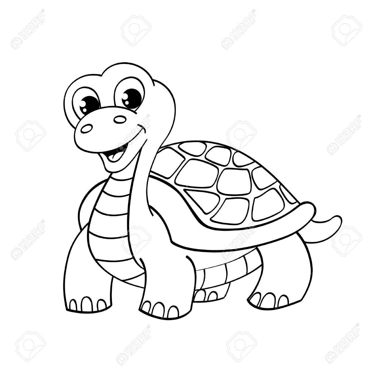 1300x1300 Funny Cartoon Turtle. Illustration For Coloring Royalty Free
