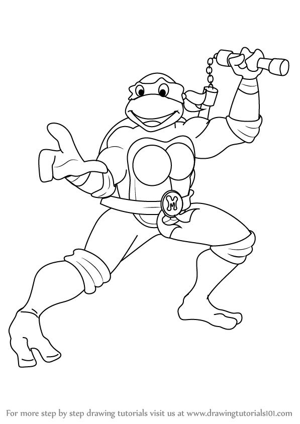 597x844 Learn How To Draw Michelangelo From Teenage Mutant Ninja Turtles