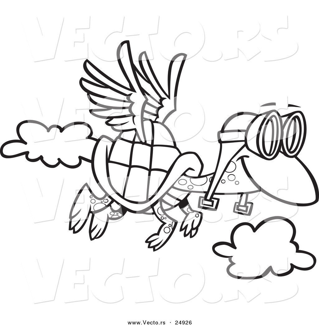 1024x1044 Vector Of A Cartoon Tortoise Flying With Pilot Goggles