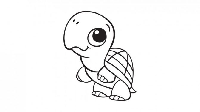 671x377 Coloring Pages Turtle Cartoon Drawing How To Draw A Step 6