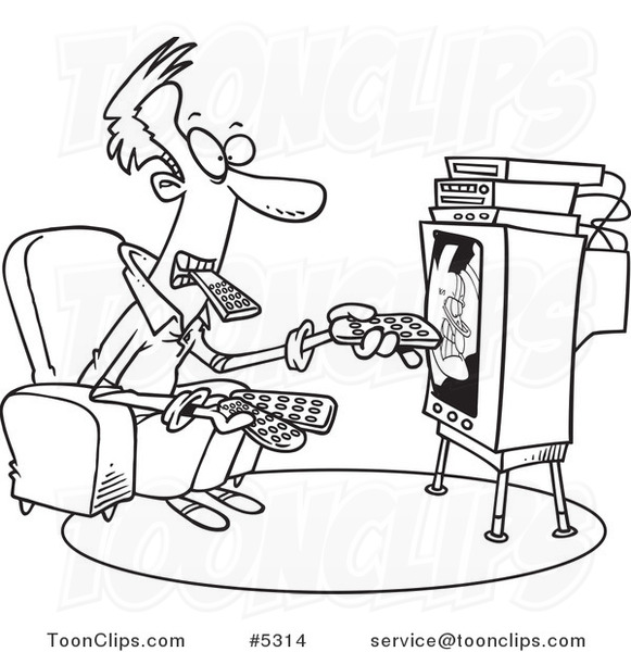 581x600 Cartoon Black And White Line Drawing Of A Guy Holding Many Remotes