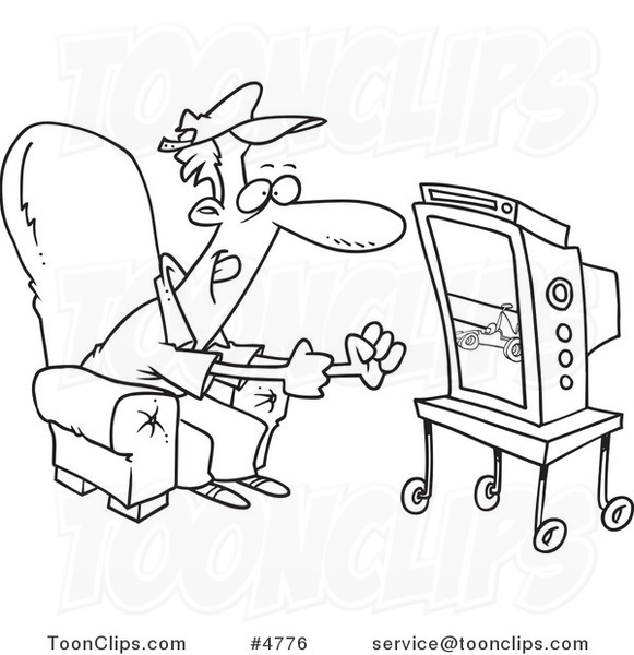 581x600 Cartoon Black And White Line Drawing Of A Race Fan Watching Tv