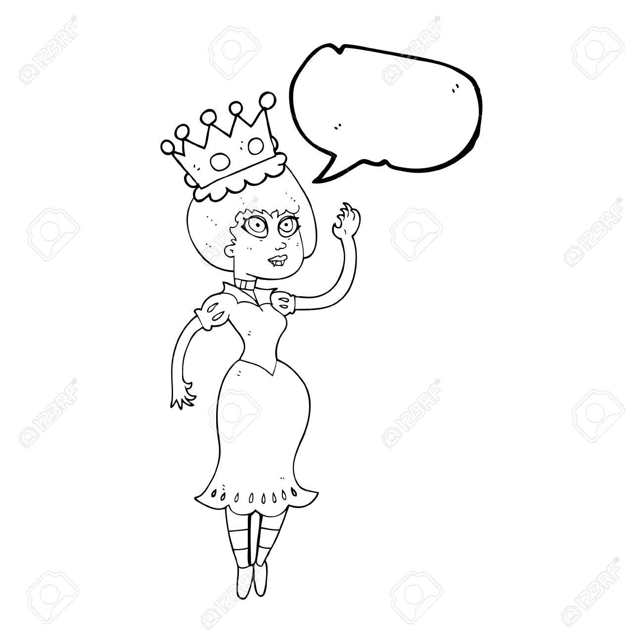 1300x1300 Freehand Drawn Speech Bubble Cartoon Vampire Queen Waving Royalty