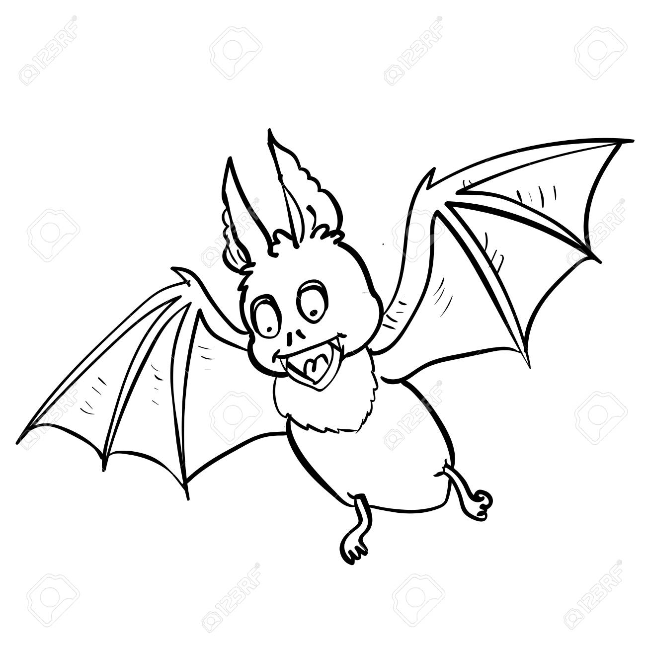 1300x1300 Hand Drawing Halloween Bat Cartoon, Vampire Evil, Isolated