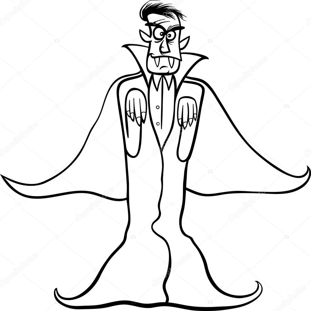 1023x1023 Dracula Vampire Cartoon For Coloring Book Stock Vector