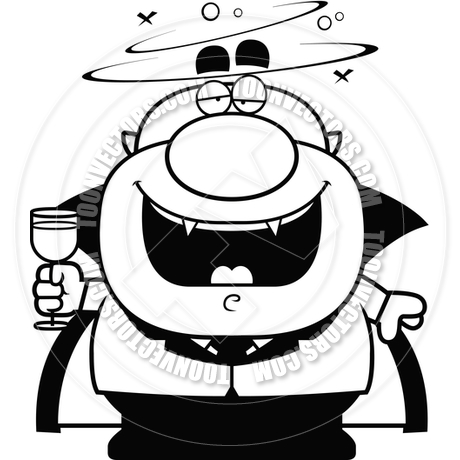 460x460 Cartoon Vampire Drunk (Black And White Line Art) By Cory Thoman