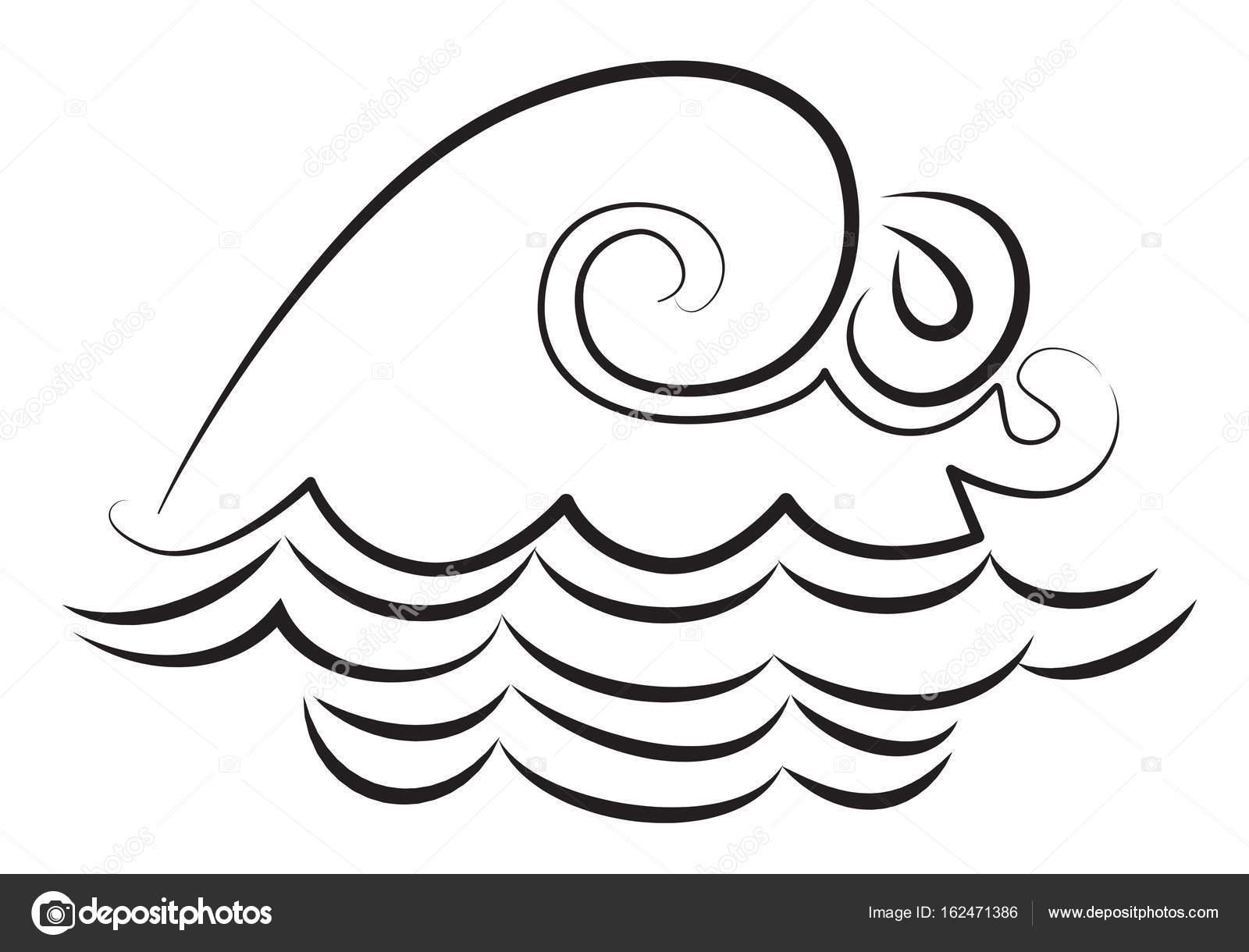 1600x1220 Cartoon Image Of Wave Icon. Water Wave Symbol Stock Vector